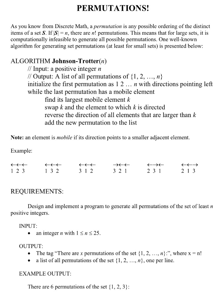 Solved: PERMUTATIONS! As You Know From Discrete Math, A Pe