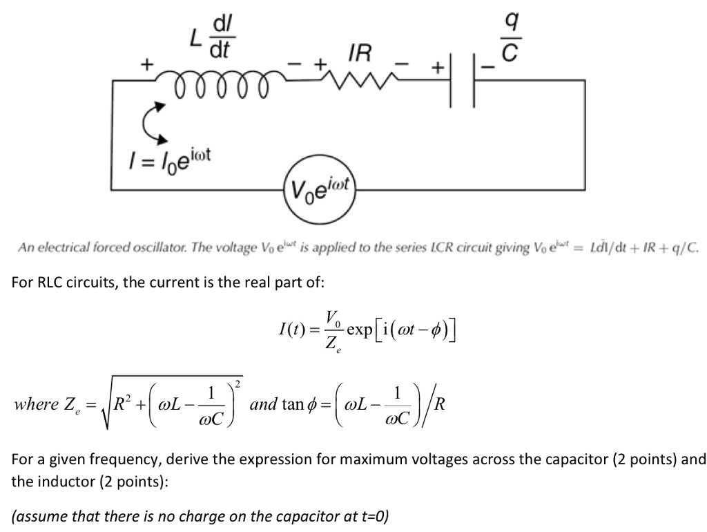 Solved An Electrical Forced Oscillator The Voltage V 0 E Ac Circuit Inductance And Capacitance Lcr In Series D Dt Ir J Eidot Iat Voe