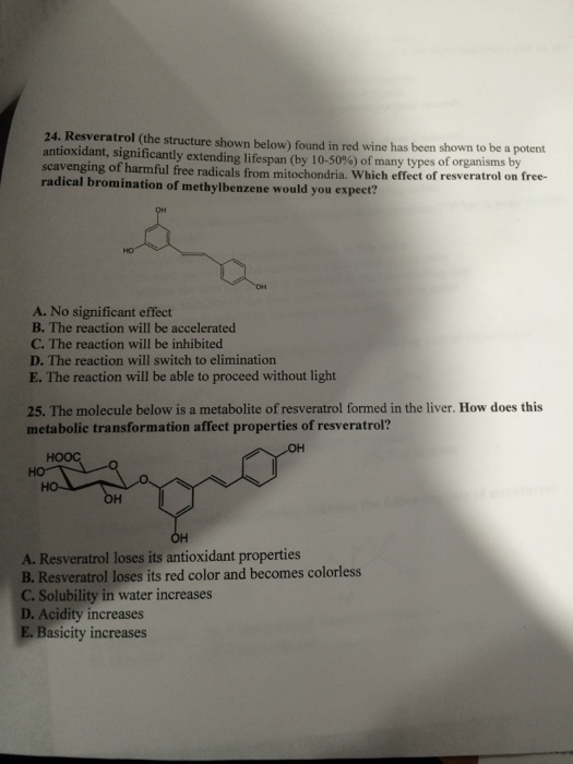Solved Resveratrol The Structure Shown Below Found In R
