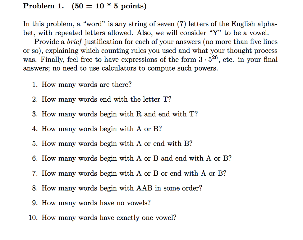 Solved In This Problem A Word Is Any String Of Seven