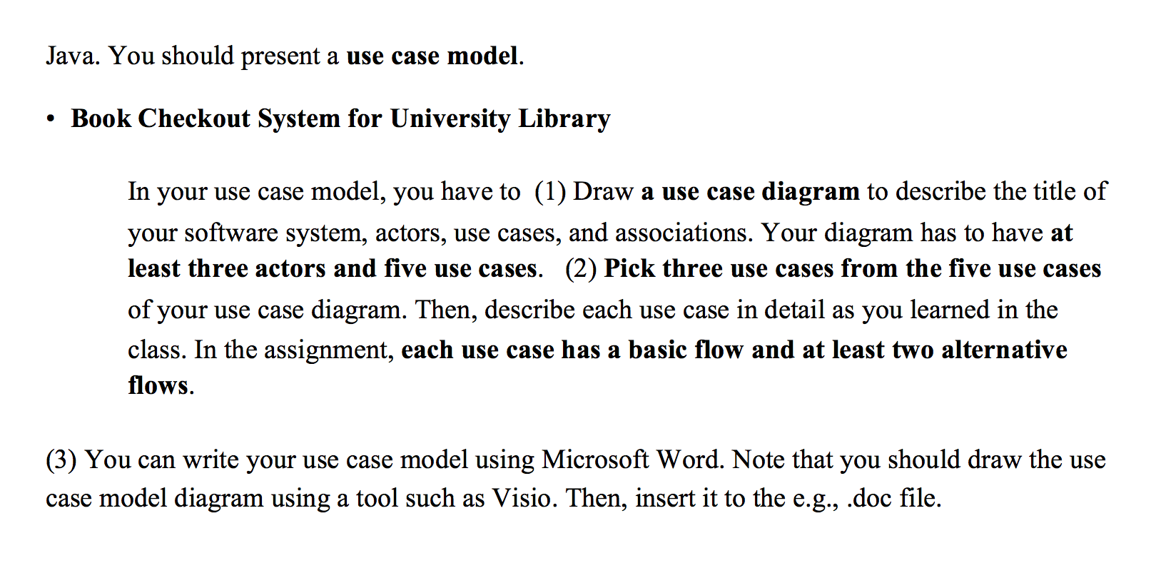 solved java you should present a use case model book ch