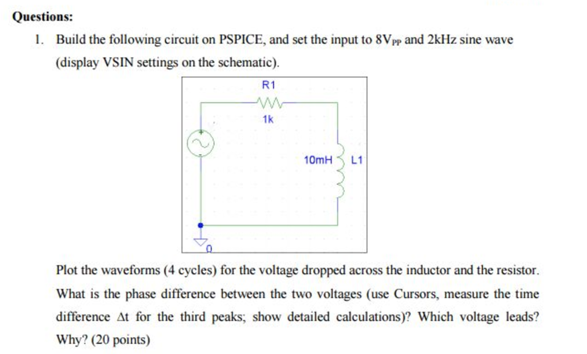 solved build the following circuit on pspice and set the rh chegg com