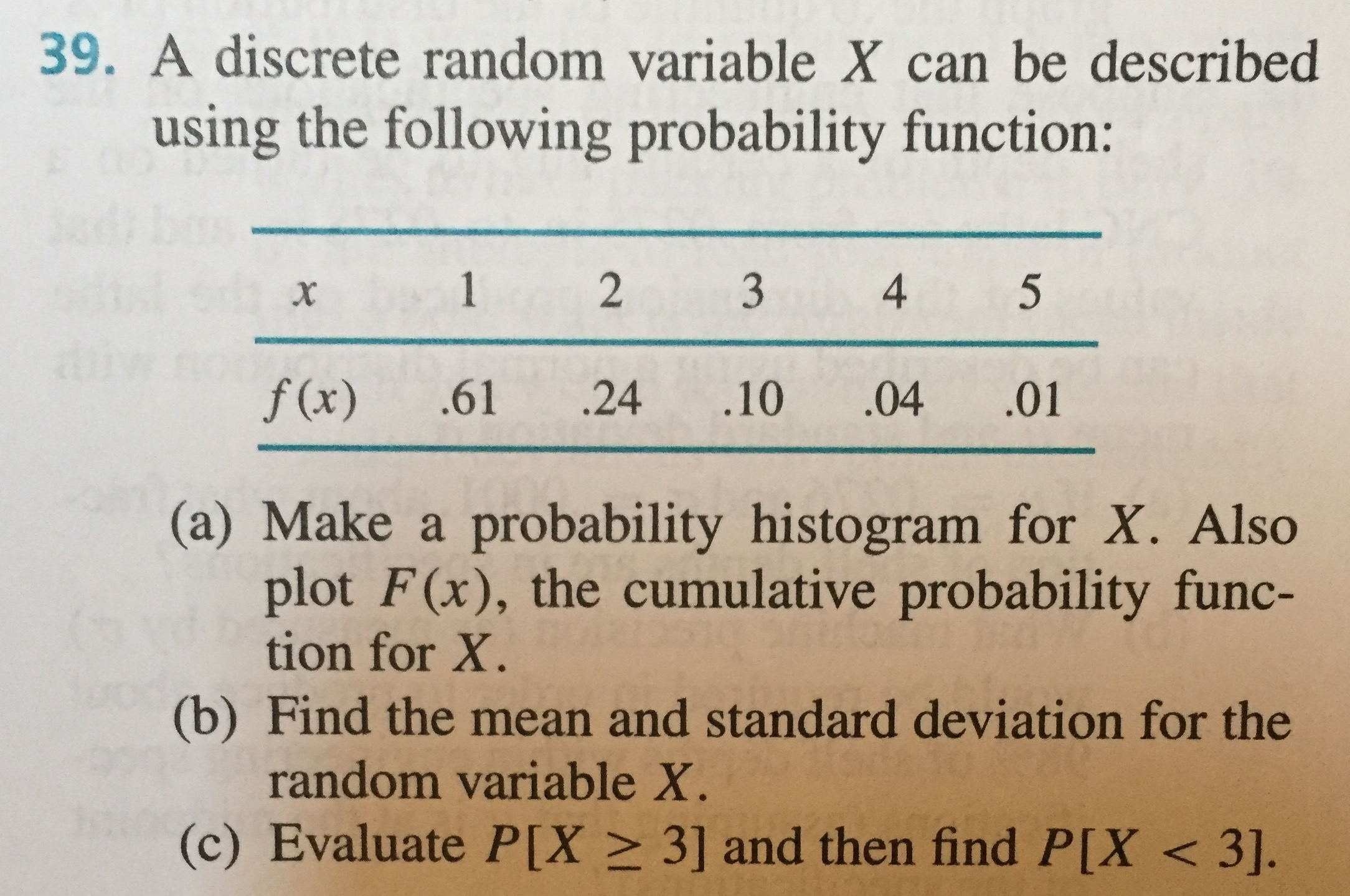 A Discrete Random Variable X Can Be Described Usin