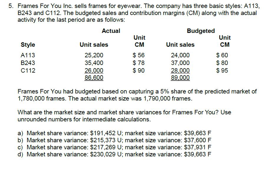 Solved: 5. Frames For You Inc. Sells Frames For Eyewear. T ...