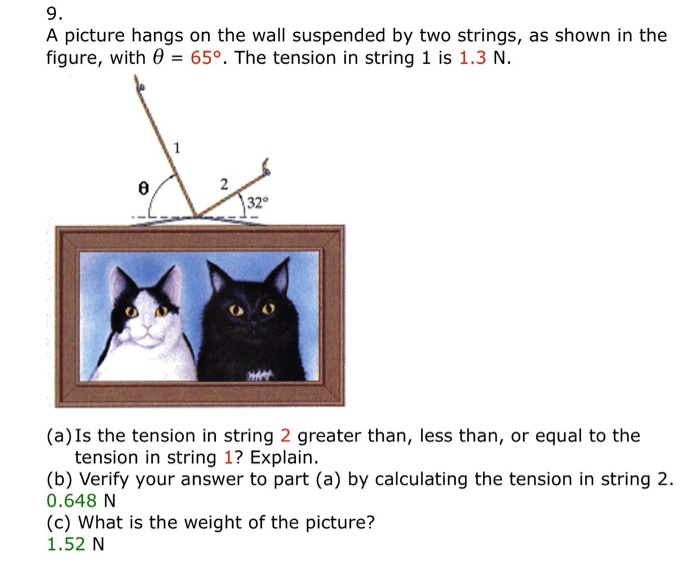 Solved A Picture Hangs On The Wall Suspended By Two Strin