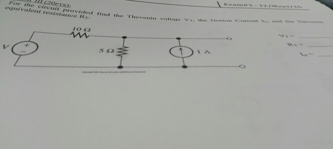 For the circuit provided find the Thevenin voltage
