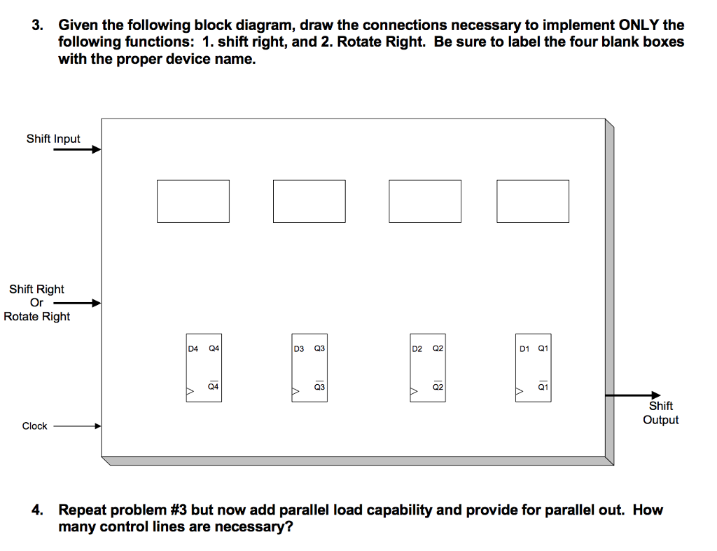 Given the following block diagram, draw the connections necessary to  implement ONLY the