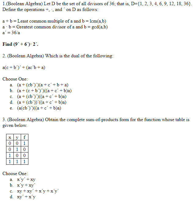 Solved 1boolean Algebra Let D Be The Set Of All Divisor