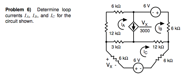 Determine loop currents IA, IB, and IC for the cir