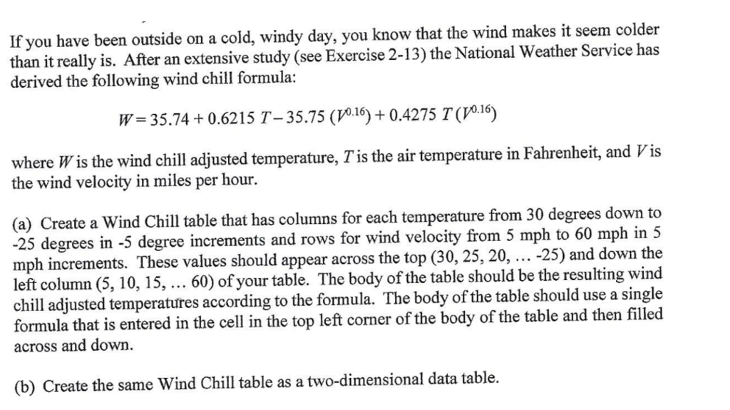 If you have been outside on a cold, windy day, you know that the wind makes it seem colder than it really is. After an extensive study (see Exercise 2-13) the National Weather Service has derived the following wind chill formula: W= 35.74 + 0.6215 T-35.75 ( 0.16)+0.4275 T(V0.16) where W is the wind chill adjusted temperature, Tis the air temperature in Fahrenheit, and Vis the wind velocity in miles per hour. (a) Create a Wind Chill table that has columns for each temperature from 30 degrees down to -25 degrees in -5 degree increments and rows for wind velocity from 5 mph to 60 mph in 5 mph increments. left column (5, 10, 15,... 60) of your table. The body of the table should be the resulting wind chill adjusted temperatures according to the formula. The body of the table should use a single formula that is entered in the cell in the top left corner of the body of the table and then filled across and down These values should appear across the top (30, 25, 20, -25) and down the (b Create the same Wind Chill table as a two-dimensional data table.