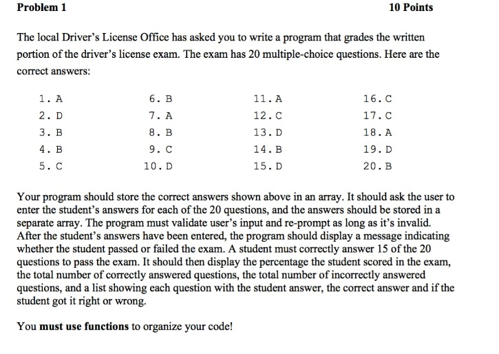 code 10 drivers licence questions and answers