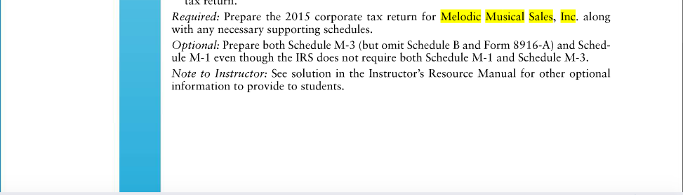 Solved Tax Return Problem C3 66 Page 3 65 Melodic Musical