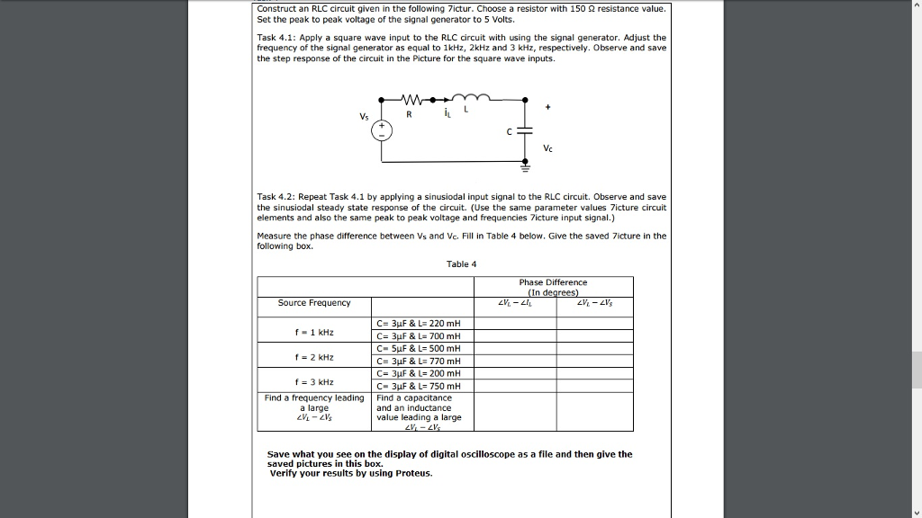 Construct An Rlc Circuit Given In The Following Ictur Choose A Resistor With  S