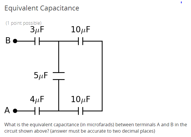 Solved What Is The Equivalent Capacitance In Microfarads