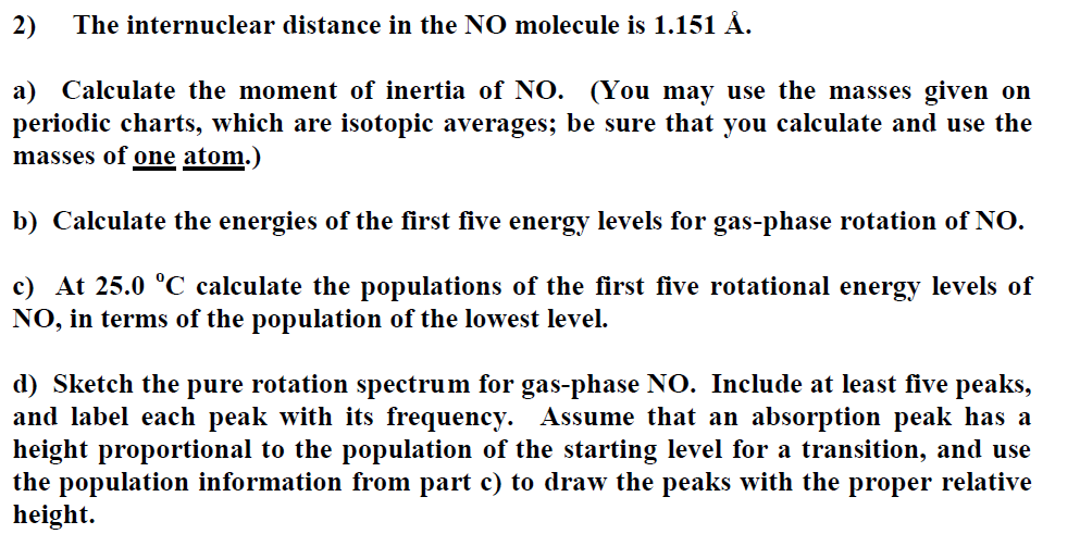 Solved: The Internuclear Distance In The NO Molecule Is 1