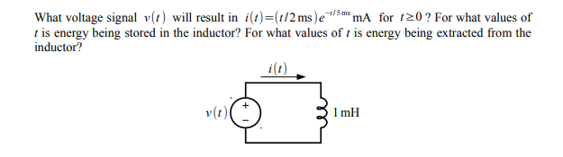 WI mse 5ms t is energy being stored in the inductor? For what values of t is energy being extracted from the inductor? si:) v(t) 1 mH