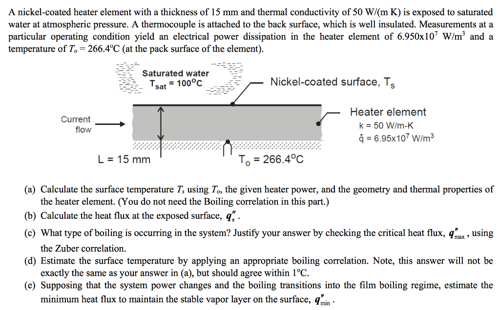 Solved: A Nickel-coated Heater Element With A Thickness Of