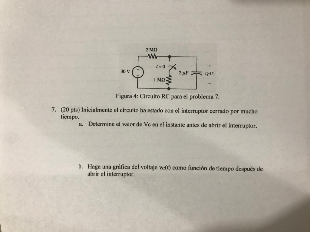 Circuito Rc : Solved: 2 ms2 30 v 1 mq figura 4: circuito rc para el pr