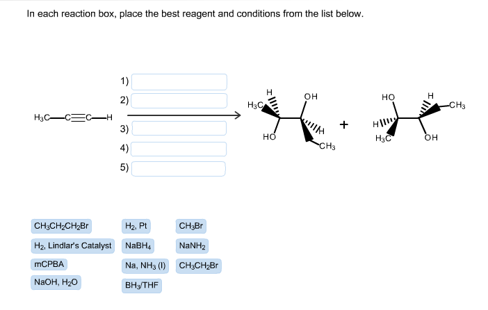 in each reaction box place the best reagent and conditions from the list below oh - photo #33