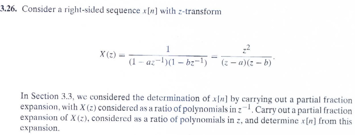 Consider a right-sided sequence x[n] with z-transf