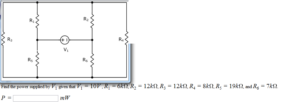 Find the power supplied by V1 given that V1 = 10V,
