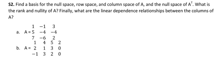 relationship between row and column space in matlab