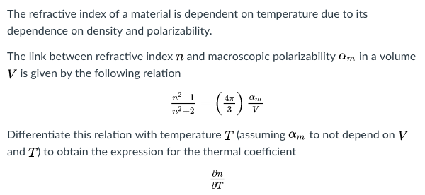 relationship between refractive index and mass density units