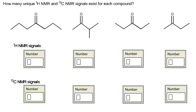 Solved How Many Unique 1h Nmr And 13c Nmr Signals Exist F