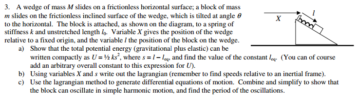 A wedge of mass M slides on a frictionless horizon