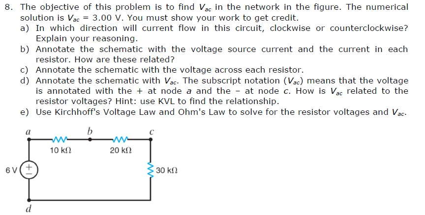 The objective of this problem is to find Vac in th