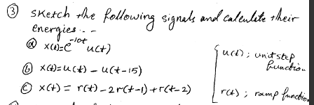 Sketch the following signals and calculate their e