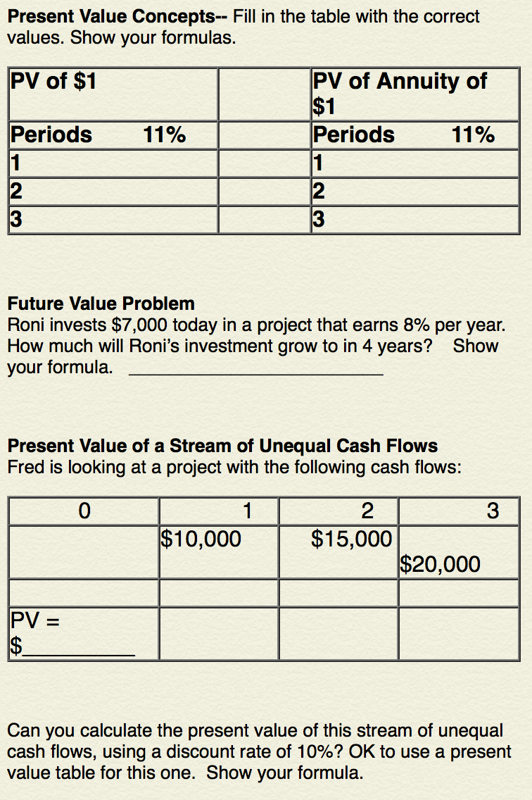 Present value concepts fill in the table with t for Table 6 5 present value