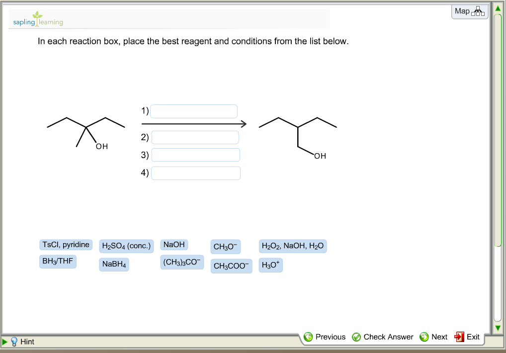 In each reaction box  place the best reagent and cIn Each Reaction Box, Place The Best Reagent And Conditions From The List Below. Deet