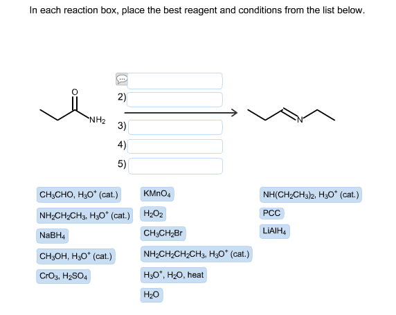 in each reaction box place the best reagent and conditions from the list below oh-#23