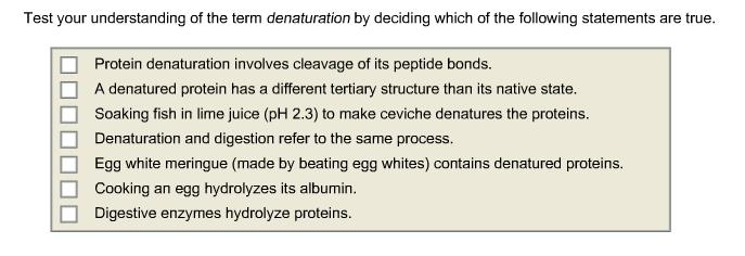 Test your understanding of the term denaturation b chegg com