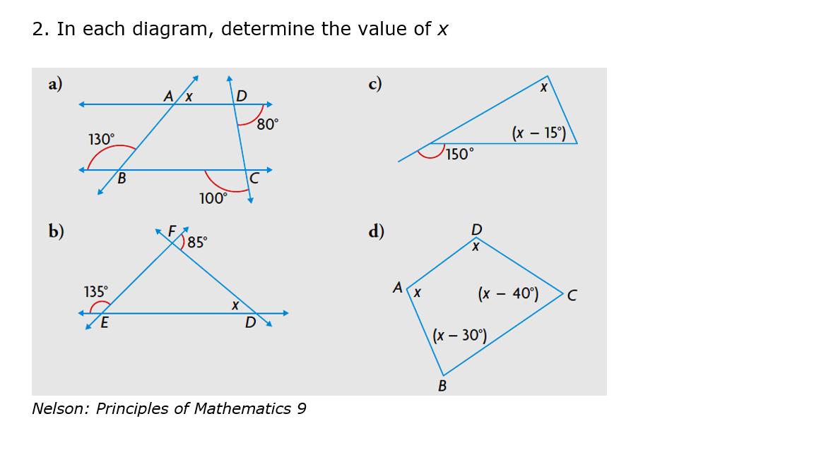 solved in each diagram determine the value of x. Black Bedroom Furniture Sets. Home Design Ideas