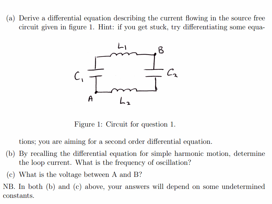 Solved: Derive A Differential Equation Describing The Curr