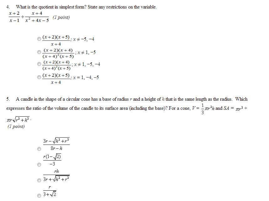 solved what is the quotient in simplest form state any r