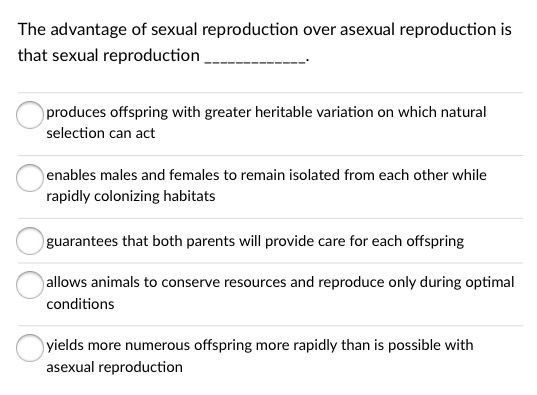 Biological advantage of sexual reproduction over asexual reproduction