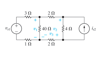 Use the node-voltage method to find v1 in the circ