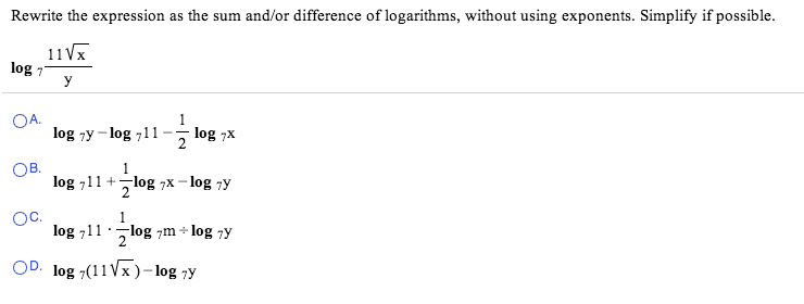 write as sum difference or multiple of logarithms help