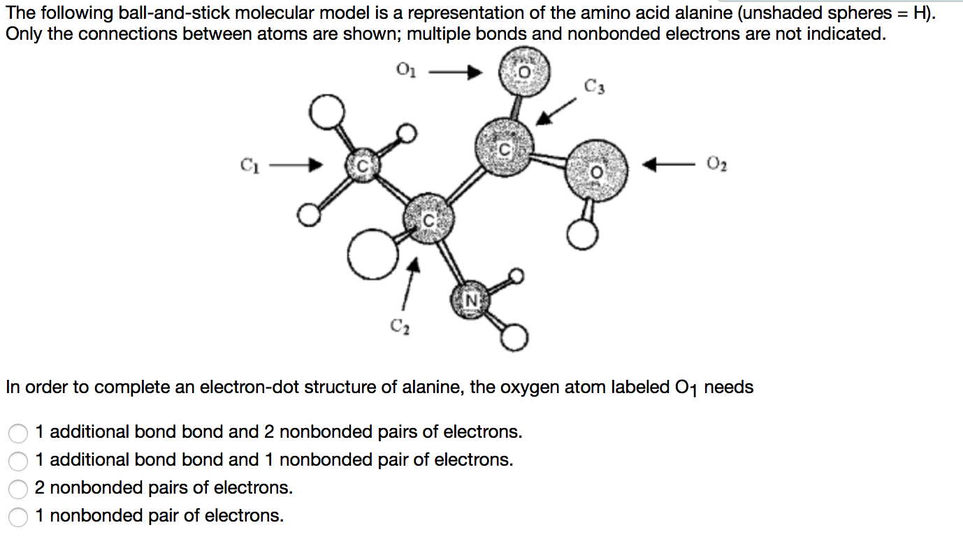 Oxygen Atom Electrons Diagram Atoms Montessori Muddle Question The Following Ball And Stick Molecular Model Is A Representation Of Amino Acid Alanine