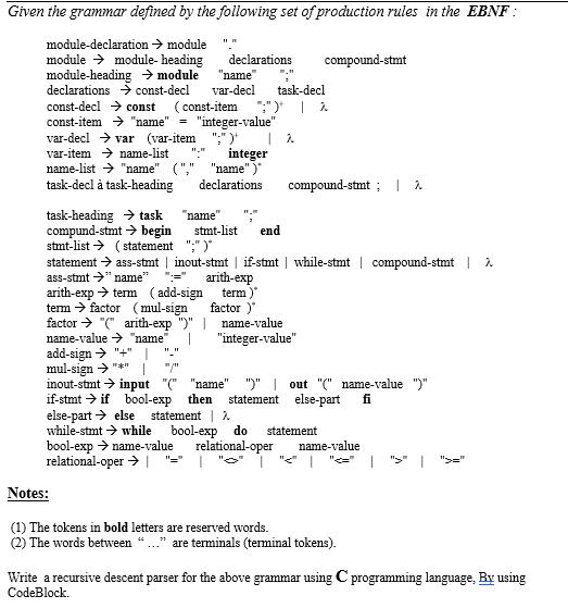 write a recursive descent parser for the following grammar games