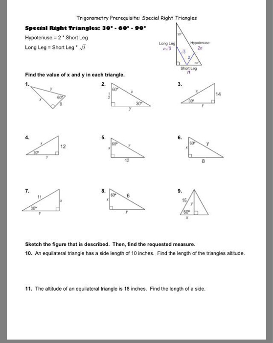Solved Trigonometry Prerequisite Special Right Triangles