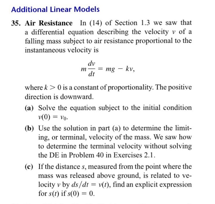 Equations for a falling body