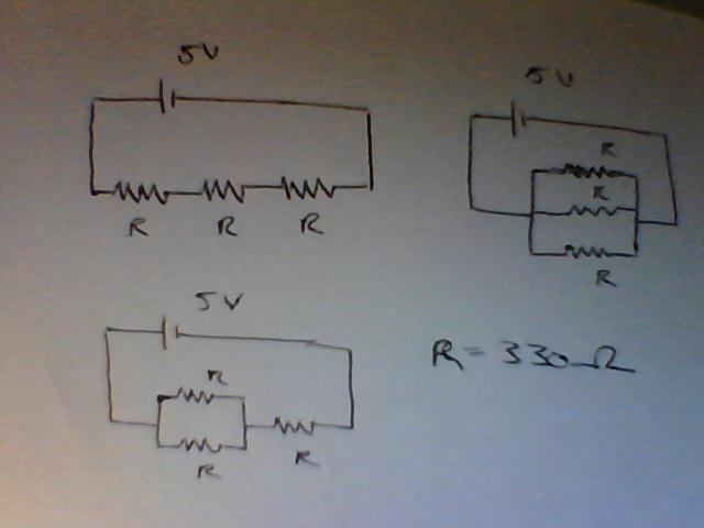 For each circuit calculate the current through eac