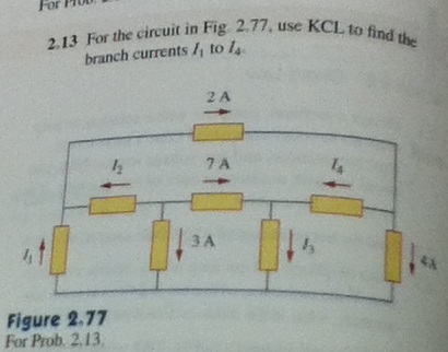 For the circuit in Fig 2.77, use KCL to find the b