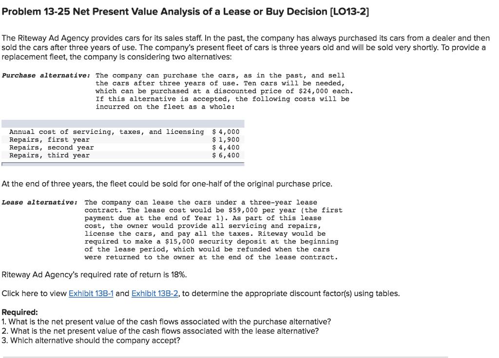 solved problem 13 25 net present value analysis of a leas. Black Bedroom Furniture Sets. Home Design Ideas