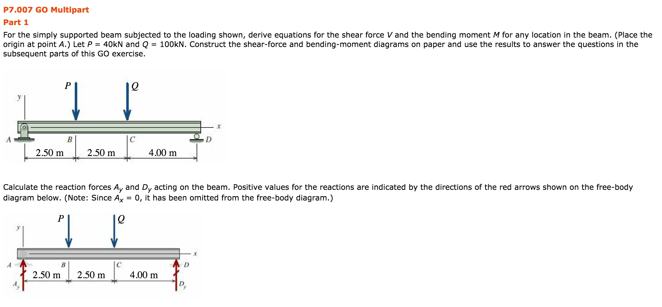 Simply Supported Beam Shear Draw Force And Bending Moment Diagrams For The Shownin P Go Multipart Part Subjected To Loading 2108x980