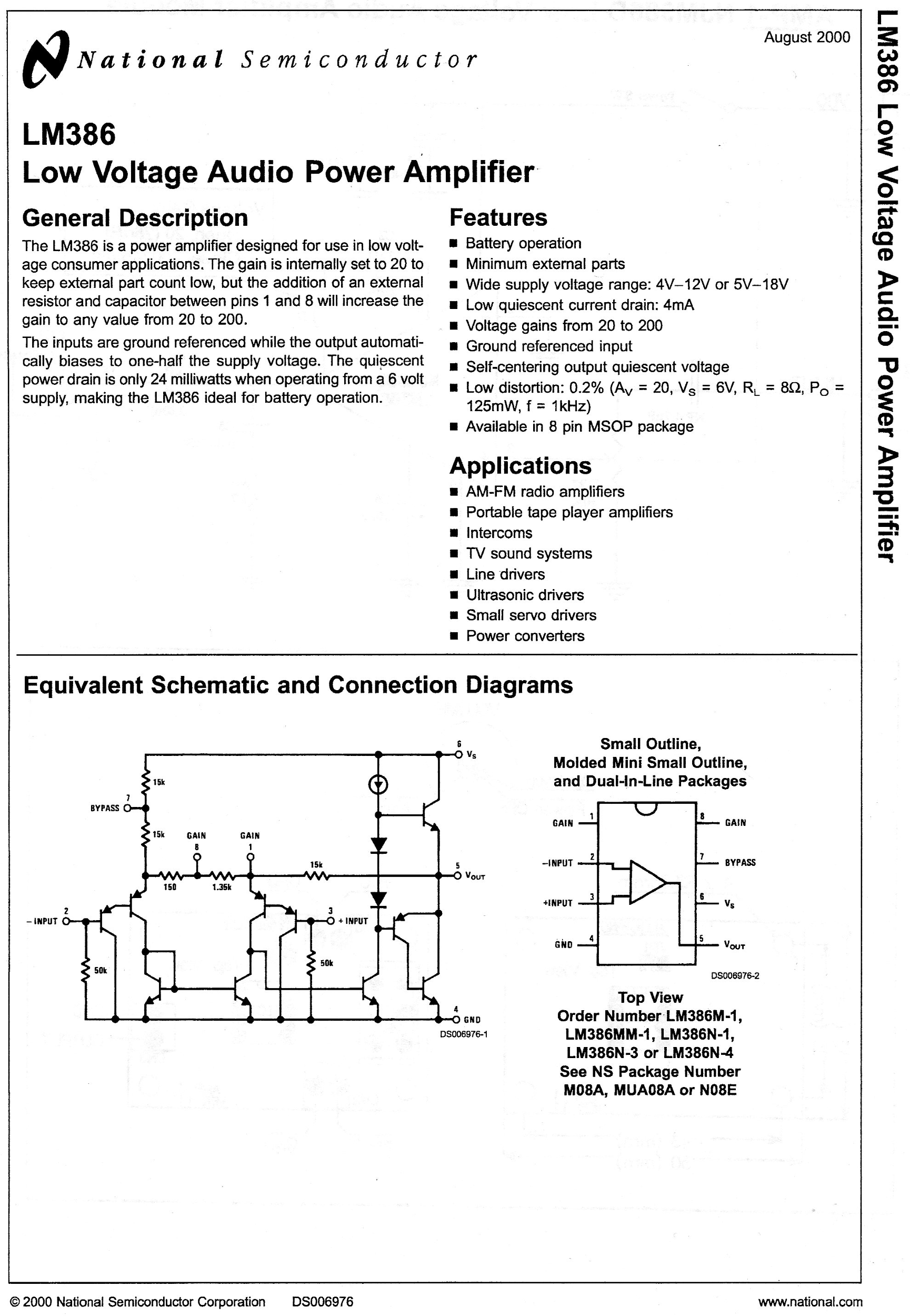 Lm386 Amplifier Schematic And Circuit Diagram